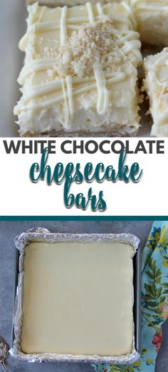 White Chocolate Cheesecake Bars with a hint of lemon and a yummy shortbread crust are easy to make and just right for bridal showers, dinner parties, or simple family suppers. #cheesecake #whitechocolate Mini Desserts, White Chocolate Desserts, White Chocolate Cheesecake, Just Desserts, Dessert Recipes, Chocolate Food, White Chocolate Brownies, White Desserts, Chocolate Cookies