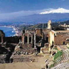 Taormina, province of messina, Siciliy region Italy Greek Theatre - Pixdaus Monaco, Places Ive Been, Places To Go, Taormina Sicily, Portugal, Shore Excursions, France, Dom, Beautiful Places