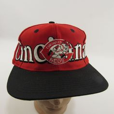 2f6e562cb7442 Vintage Cincinnati Reds Hat Adjustable Snapback Cap Logo 7 Wrap Around Text  90's #CincinnatiReds Cincinnati