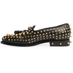 Gucci Sagan Studded Leather Loafer ($1,590) ❤ liked on Polyvore featuring men's fashion, men's shoes, men's loafers, black, men's shoes loafers, mens loafers, mens spiked loafers, mens leather loafer shoes, mens leather shoes and mens black shoes