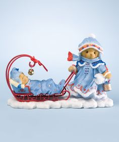 "Grette  ""Rock-a-bye-Ride"" 17th in Laplander Series #4023654  Love this Pulling Sleigh & Baby Bear Figurine"