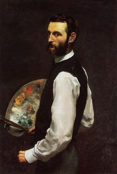 Self Portrait with Palette, 1865, Jean Frederic Bazille