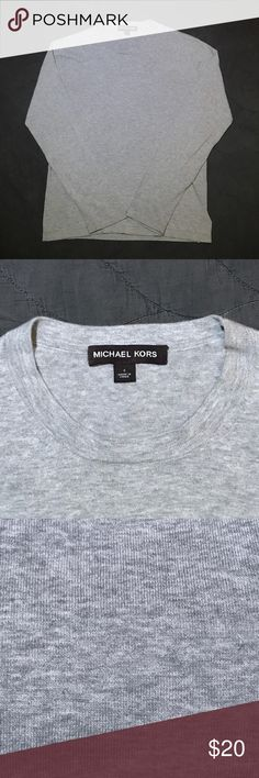 "Michael Kors Men's sweater Size: S Color: heather grey Neck: 16"" Length: 25"" Sleeve: 20"" Details: looks great layered w a button-up shirt. From Winter 2016 Michael Kors Sweaters Crewneck"