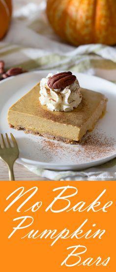 No Bake Pumpkin Bars - A very simple no bake pumpkin bar that is light and scrumptious | #pumpkin #bars #desserts #nobake