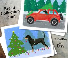 Black and Tan Coonhound Dog Christmas Cards from the Breed Collection - Digital Download Printable