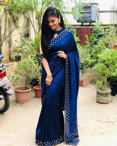 In a dark blue color saree and halter neck blouse design Half Saree Lehenga, Saree Gown, Chiffon Saree, Sari, Saree Jacket Designs, Blouse Neck Designs, Saree Draping Styles, Saree Styles, Pretty Beautiful Girl