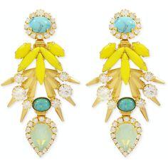 Rental Elizabeth Cole Bird of Paradise Earrings ($25) ❤ liked on Polyvore featuring jewelry, earrings, accessories, pant, long earrings, vintage post earrings, vintage jewellery, elizabeth cole and yellow earrings