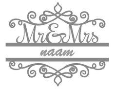 Mr en Mrs sticker met naam