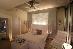 Pink beige carpet and headboard/skirt. Green beige walls, taupe accent ...