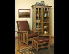 mission curio morris mission recliner with ottoman - Mission Style Recliner