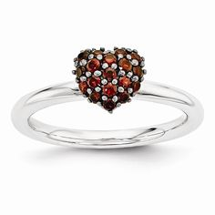Sterling Silver Garnet Stackable Expressions Heart Ring QSK1826