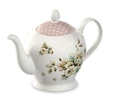Katie Alice Cottage Flower - Large Six Cup Cream Porcelain Tea Pot