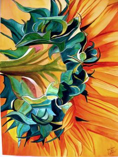 Sunflower original watercolour painting by SachaGrosselArt on Etsy, $120.00