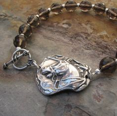 PMC Artisan Jewelry, Handmade Fine Silver Classic Horse Link, with Sterling and Smoky Quartz Bracelet #pmc