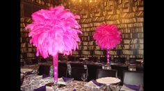 Rent Hot Pink Fuchsia Ostrich Feathers centerpieces. Call or email for free price quote  (631) 421-2286 info@sweet16candelabras.com