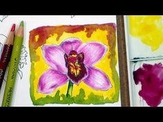The Frugal Crafter Watercolor Tutorials on YouTube - Orchid Flower in Colored Pencils and Watercolor Watercolor Video, Watercolour Tutorials, Watercolor Flowers, Watercolor Art, Watercolor Pencils, Colored Pencil Tutorial, Colored Pencil Techniques, The Frugal Crafter, Art Journal Tutorial