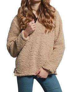 4b6a152d440 Fensajomon Womens Winter Warm Half Zipper Pullover Sport Sweatshirts Coat 1  L at Amazon Women s Clothing store
