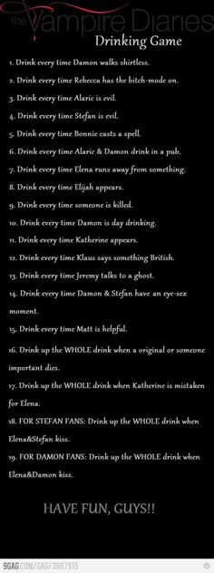 9GAG - VAMPIRE DIARIES: Drinking Game