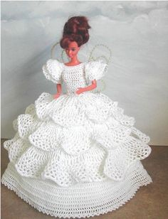 Crochet Patterns Dress crochet fashion – 495 FANTASY FAIRY for 11 fashion dolls like Barbie original … Crochet Trend - 495 FANTASY FAIRY for 11 half of trend dolls like Barbie authentic design by ICS Authentic Designs - make crochet with # 10 thread. Crochet Doll Dress, Crochet Barbie Clothes, Crochet Doll Pattern, Crochet Patterns, Crochet Poncho, Barbie Wedding Dress, Barbie Gowns, Barbie Dress, Barbie Doll