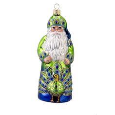 David Strand Kurt Adler Glass Peacock Santa Ornament