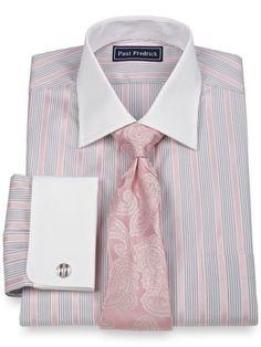 2-Ply Cotton Stripe Spread Collar French Cuff Dress Shirt from Paul Fredrick