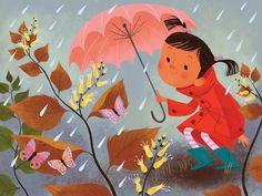 Illustration by Brigette Barrager - It's 90 degrees in Los Angeles and rainy here in Scotland, so here's a page from Where Does Kitty Go in the Rain! I'm very jetlagged! Umbrella Art, Under My Umbrella, Children's Book Illustration, Book Illustrations, Illustration Styles, Childrens Books, Book Art, Character Design, Character Inspiration