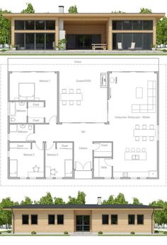 Modular Home Plan, Three bedroom house plan, Floor Plan, Prefab house plan