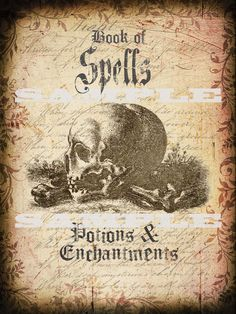 Halloween Book Cover of Spells Potions and Enchantments Printable Graphic. $1.99, via Etsy.