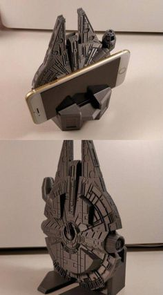 So you are looking for a smartphone stand that stands out? This Printed Millennium Falcon smartphone stand has you covered. It is printed in PLA and 3d Printer Designs, 3d Printer Projects, 3d Projects, Cool 3d Prints, Useful 3d Prints, Star Wars Room, Star Wars Art, Millennium Falcon, Diy 3d Drucker