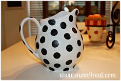 Paint A Polka Dot Pitcher - I'm thinking what else I could paint with polka dots now that I know how to do it.