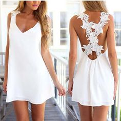 2016 Summer Beach Mini-Jupe Dos Nu Femmes Sexy Dos Nu Robe V BoLing Loisirs Crochet Dentelle Minijupe Yeux