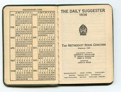 Check out this item in my Etsy shop https://www.etsy.com/listing/208770733/1938-methodist-pocket-calendardiary-the