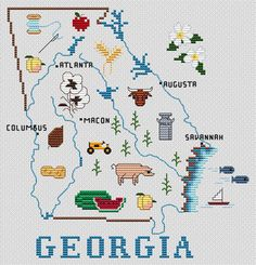 Sue Hillis Georgia Map - Cross Stitch Pattern. This can be stitched on your choice of Fabric and ct. Stitch Count: 100w x 104h. Design Sizes: 14/28 Count 7.14 x
