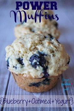 Blueberry Oatmeal Yogurt Power Muffins! High in protein and probiotics!