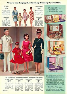Catalog page showcasing the range of vinyl Littlechap Family dolls by Remco, made in a slightly larger scale from contemporary dolls such as Mattel's Barbie and Ideal's Tammy, with additional fashions and paperboard playsets, from that year's Sears Christmas Wish Book, United States, 1963, published by Sears, Roebuck & Co. Released only between 1963 and 1965, the Judy doll was thought to be based on the likeness of former first lady Jackie Kennedy, and occasionally shows up with rare blue…