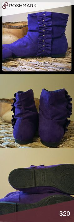 Purple suede ankle boots Unique, Purple suede ankle boots with ruffle detail. Super cute! Perfect to brighten up an outfit dream out loud  Shoes Ankle Boots & Booties