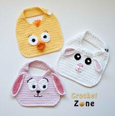 Free Crochet Pattern: Animal Friends Bibs on CrochetZone.com
