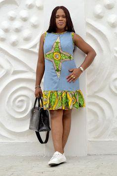 Items similar to Ankara X Denim/ Ankara Dress/ African Print/ Quality Fabric/Casual Wear on Etsy African Dresses For Kids, African Print Dresses, African Print Fashion, African Fashion Dresses, Ankara Fashion, Ankara Dress Styles, Trendy Ankara Styles, Ankara Gowns, African Attire