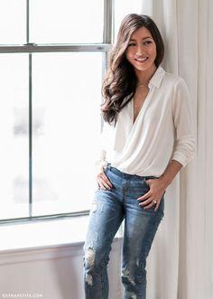 classic white wrap blouse + boyfriend jeans // casual outfit idea