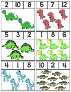 Clip cards featuring Dinosaurs to help teach numbers Super easy prep, 18 cards total! Dinosaur Theme Preschool, Preschool Activities At Home, Dinosaur Activities, Kindergarten Math Worksheets, Preschool Lessons, Preschool Math, Pre School, Super Easy, Kids