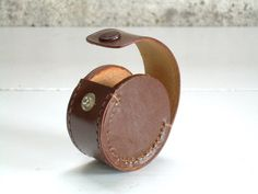 Vintage Leather Ear Bud Case Earphone by TheArtifactoryStudio