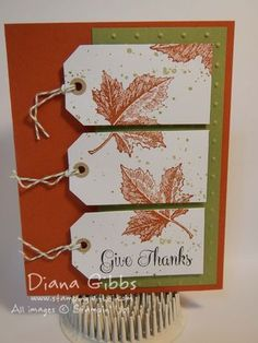 handmade card .. Stamp a Tag Diana Gibbs ... autumn colors and leaves ... three tags form a split panel ... like it! ...Stampin'Up!