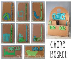 "Chore basket and chore cards. One side for ""To Do"" and one side for ""Done""."