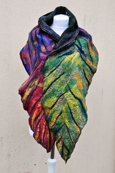 Felted scarf, shawl, silk, wool, nuno, felted, gift, fibre art,black, blue, green, red, yellow, purple, pink, brown, gray