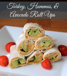 Turkey, Hummus, and Avocado Roll Ups (No Bread) 100 calories 3 weight watchers point Great lunch or snack! by dollie