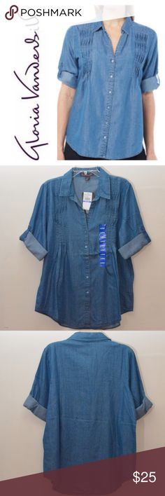 Gloria Vanderbilt Women's Chambray Top This is a Gloria Vanderbilt Women's Chambray Top. Color: Blue. Size:XL. The Giselle chambray top features a point collar, decorative pleating, roll tab sleeves, and a high-low hemline. Made of Cotton. Gloria Vanderbilt Tops