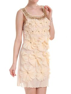 3D Floral and Rhinestone Neck A-line Dress - Fashion Clothing, Latest Street Fashion At Abaday.com