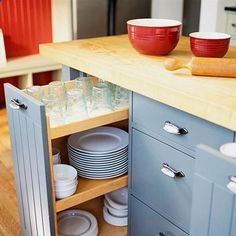 Pullout Storage for Glasses and Plates Make the plates come to you by storing them in a three-tier pullout rack in the island. Youll want to choose soft-close drawer slides to keep the unit from slamming shut and breaking your china and glassware