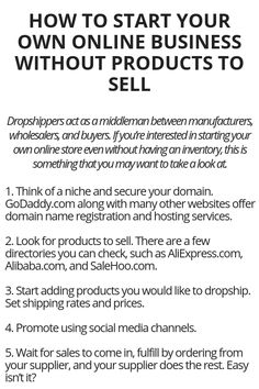 How To Start Your Own Online Business Without Products To Sell - Wisdom Lives Here Ways To Earn Money, Earn Money From Home, Earn Money Online, Online Jobs, Money Tips, Way To Make Money, Life Hacks Websites, Useful Life Hacks, Legit Work From Home