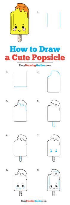 How to Draw a Cute Popsicle – Really Easy Drawing Tutorial - Gardening Easy Chalk Drawings, Easy Doodles Drawings, Cute Food Drawings, Easy Doodle Art, Art Drawings Sketches Simple, Simple Doodles, Easy Drawing Tutorial, Food Drawing Easy, Easy Drawing Steps
